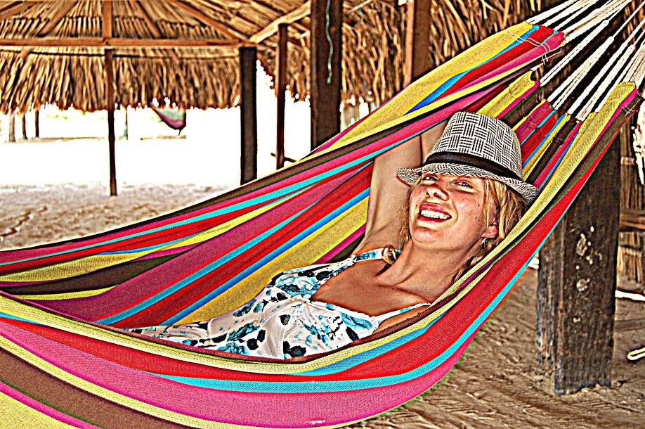 No pillow? No sweat. But this is not how to sleep in a hammock.